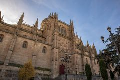 The New Cathedral of Salamanca in sunny day of winter stock images