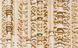 SALAMANCA, SPAIN, 2016: The detail of gothic decoration of south portal of the Cathedral - Catedral Vieja Royalty Free Stock Photos