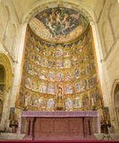 SALAMANCA, SPAIN: The gothic main altar of Old Cathedral (Catedral Vieja) by Dello and Nicolas Delli Royalty Free Stock Image