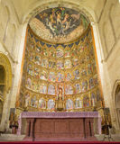 SALAMANCA, SPAIN: The gothic main altar of Old Cathedral (Catedral Vieja) by Dello and Nicolas Delli Royalty Free Stock Photo