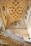 SALAMANCA, SPAIN, 2016: The gothic vault of stairs of monastery Convento de San Esteban. Royalty Free Stock Photography