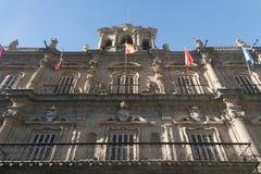 Salamanca Spain: historic building in Plaza Mayor Royalty Free Stock Images