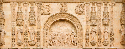SALAMANCA, SPAIN, 2016: The Lapidate of st. Stephen as the detail from portal of Convento de San Esteban Royalty Free Stock Photography