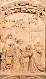 SALAMANCA, SPAIN, 2016: The Three Magi relief on the gothic-baroque west portal of the New Cathedral - Catedral Nueva Stock Photography