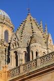 Salamanca, Spain. UNESCO World Heritage Site. Spain, Castilla y Leon, Salamanca. Detail of Salamanca Cathedral's gothic architecture with the Renaissance cupola royalty free stock photo