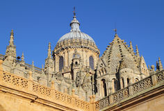 Salamanca, Spain. UNESCO World Heritage Site. Spain, Castilla y Leon, Salamanca. Detail of Salamanca Cathedral's gothic architecture with the Renaissance cupola stock images