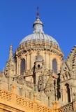Salamanca, Spain. UNESCO World Heritage Site. Spain, Castilla y Leon, Salamanca. Detail of Salamanca Cathedral's gothic architecture with the Renaissance cupola stock photo