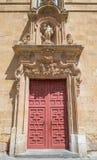 SALAMANCA SPANIEN, APRIL - 17, 2016: Den barocka portalen av kyrkliga Iglesia de San Sebastian Arkivbild