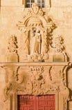 SALAMANCA SPANIEN, APRIL - 17, 2016: Den barocka portalen av kyrkliga Iglesia de San Sebastian Royaltyfri Fotografi