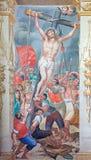 SALAMANCA SPANIEN, APRIL - 16, 2016: Höjden av den arga freskomålningen i kyrka av Convento de San Esteban av Antonio Villamor Royaltyfri Bild