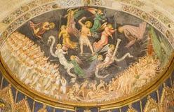 SALAMANCA, SPANIEN: Gotisches Fresko von Juicio-Schluss- letztes Urteil offenkundig der Hauptaltar der alten Kathedrale (Catedral stockfotografie