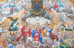 SALAMANCA, SPANJE: Fresko van Kroning van Maagdelijke Mary in klooster Convento DE San Esteban en Kapel van Rozentuin Stock Fotografie
