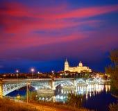 Salamanca sunset in Enrique Estevan bridge stock photography
