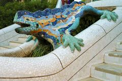 The salamander in Park Güell has become a symbol of Gaudí`s work, Barcelona, Catalonia, Spain royalty free stock image