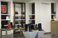 Salamander  shoes store. VILNIUS, LITHUANIA - DECEMBER 21: Salamander quality luxury shoes store in Xmas Panorama market on December 21, 2013 in Vilnius Royalty Free Stock Image