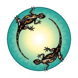 Salamanders. Green circle, pattern. royalty free illustration