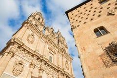 SALAMANQUE, ESPAGNE, 2016 : La La portaile baroque Clerecia - université pontificale Photographie stock libre de droits