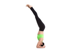 Salamba sirsasana yoga pose. Beautiful sporty girl doing supported headstand yoga asana, salamba sirsasana, Pose for Depression Stock Images