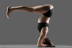 Salamba sirsasana yoga Pose. Beautiful young fit woman doing sport exercises, variation of supported headstand asana, salamba sirsasana posture with legs bent at Royalty Free Stock Photo