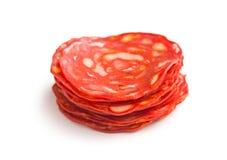 Salame affettato del chorizo Fotografie Stock Libere da Diritti
