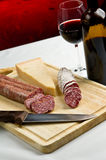 Salame, cheese and wine Royalty Free Stock Images
