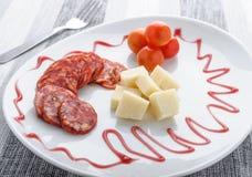 Salame con parmigiano immagini stock libere da diritti