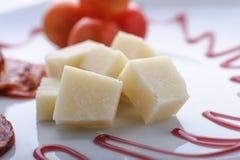 Salame con parmigiano fotografie stock
