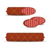 Salame da salsicha, vara inteira da salsicha, uma parte de salsicha Imagem de Stock Royalty Free