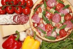 Salame della pizza Fotografia Stock