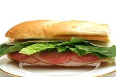 Salame della Turchia & panino di prosciutto intero Fotografie Stock