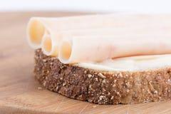 Salame dos peitos de frango no crono pão Imagem de Stock