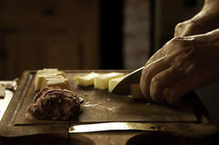 Salame e formaggio Immagini Stock Libere da Diritti
