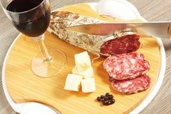Salame e formaggio Fotografie Stock