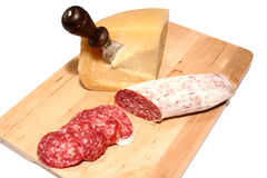 Salame and fromage Royalty Free Stock Photography