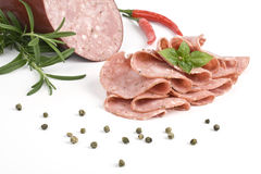 Salame with herb and spices Royalty Free Stock Photo