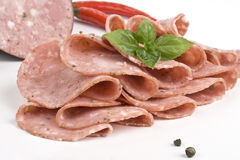 Salame with herb and spices Royalty Free Stock Images