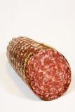 Salami. Slice of salami on white background stock photo