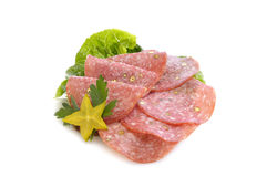 Salami. A sampling of salami lunch meat Stock Photo