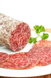 Salami. Hungarian salami in a studio shot stock image