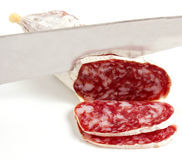 Salami. On a white background Stock Images