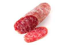 Salami. Slice on white background stock image