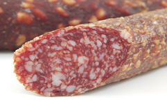 Salami. Isolated on a white background stock photos