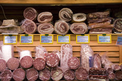 Salami. Smoked meat products in a italian market Royalty Free Stock Image