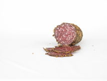Sliced spiced salami Stock Image