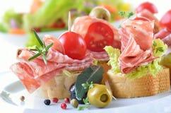 Salami appetizers Stock Photos