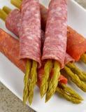 Salami With Asparagus Royalty Free Stock Photos