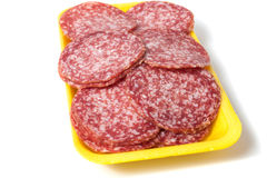 Salami background with many pieces Royalty Free Stock Photo