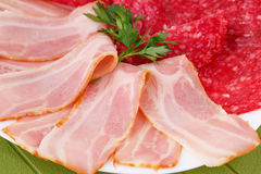 Salami and bacon Stock Image
