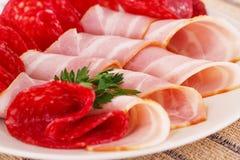 Salami and bacon Royalty Free Stock Image