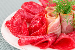 Salami and bacon Stock Images